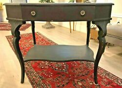 1900s Antique Carved Original Wood Side End Accent Foyer Table Good Condition