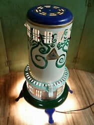 Vtg Antique Converted Perfection Oil Stove Floof Light Lamp Hand Painted Refurb
