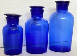Cobalt Blue Apothecary Jars With Ground Glass Stoppers Lids Antique Vtg Lot Of 3
