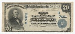 Mccomb City Mississippi Ms 20 1902 National Bank Note Ch 7461