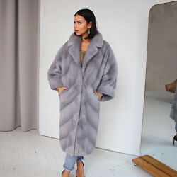 Luxury Womenand039s Real Mink Fur Coat With Lapel Warm Natural Fur Outerwear Overocat