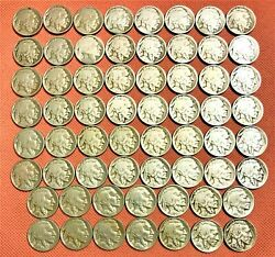 Set Of 62 Buffalo Nickels From 1913-p Ty1 To 1938-d Nice Coins Whitman Folder 1