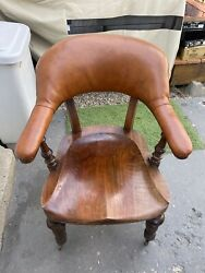 Vintage Antique Wood Leather Office Desk Arm Chair Local Pick Up 60641