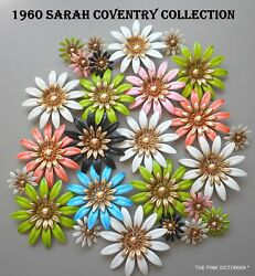 1960s Vintage Signed Sarah Coventry Flower Pin, Matching Flower Clip On Earrings