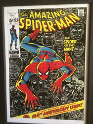 The Amazing Spider-man 100 Limited Edition Poster Signed By Stan Lee Rare
