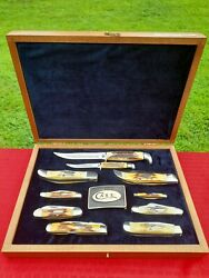 Vintage 10pc Case Xx Blue Scroll Knife Collectors Set Genuine Stag Minty