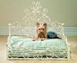 New French Tuscan Iron Scroll Antique White Acanthus Pet Dog Cat Bed