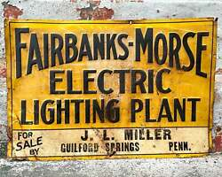 Antique Fairbanks Morse Sign Electric Lighting Plant Miller Guilford Springs Pa