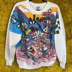 Freeze Vintage Bouncing To Da Tiny Toons Bugs Bunny 90s Graphic Sweater Size Xl
