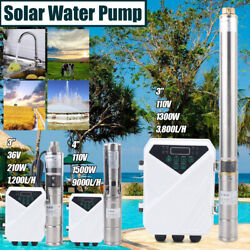 3 Or 4 Solar Power Water Pump Farm Ranch Dc Submersible Bore Hole Deep Well Us