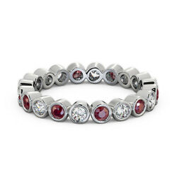 1.50 Ct Red Ruby And Diamond Anniversary Band 14k Solid White Gold Sizes 6 7.5 8 9