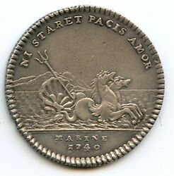 Navy L. J.m.bourbon Admiral French Token Silver 1740 Feuardent 1367