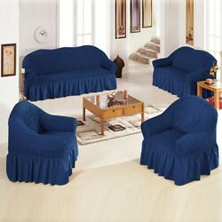 Stretch Ruffle Skirt Wing Back Arm Chair Cover Slipcovers Sofa Furniture Decor