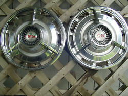 2 Vintage Classic 1963 1964 Chevrolet Chevy Ss Belair Impala Hubcaps Wheel Cover
