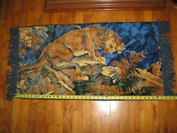Vintage Tapestry Wall Hanging Lion 42quot; x 20quot;