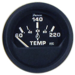 Faria Euro Black 2 Cylinder Head Temperature Gauge 60 To 220anddeg F With S...