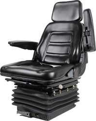 Tractor Backhoe Seat Fully Adjustable With Suspension And Swivel Black Vinyl