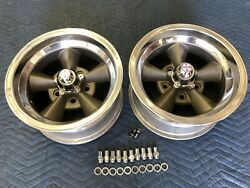 Vintage Pair 5 Spoke Real Torque Thrust Style Polished Lip 14x7 4 3/4 Chevy