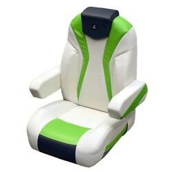 Larson Boat Captains Helm Seat 8307-1428 | Lxi Reclining White Gray Green