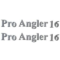 Lund Boat Pro Angler 16 Decal 1986348 | Silver W/ Black Shadow Pair