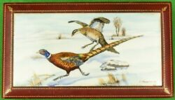 Frank Vosmansky Hand-painted Pheasant Game Bird Plaque On Satinwood-lined Box