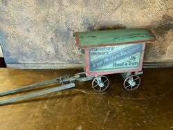 Vintage Wood Great Western Transport Toy Advertising Wagon W Curved Rood