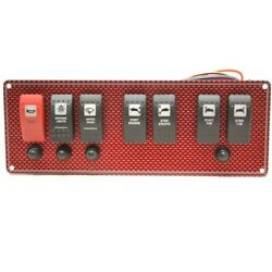 Wellcraft Boat Switch Panel 025-4075   10 3/4 X 3 7/8 Inch Red