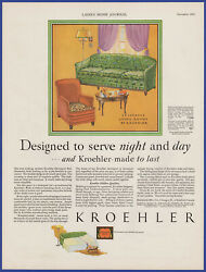 Vintage 1929 Kroehler Couch Chair Living Room Furniture Art Décor 20s Print Ad
