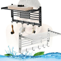 Laundry Clothes Drying Rack Wall Mounted Towel Rack W/hooksandswing Arms Free Ship