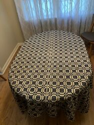 ANTIQUE TAPESTRY LOOM WOVEN REVERSIBLE FABRIC TABLECLOTH BLANKET NAVY BEIGE