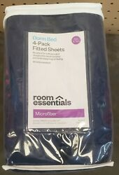 Room Essentials Dorm Bed 4 Pack Fitted Sheets Twin Twin XL Blush Microfiber NEW
