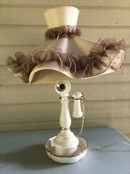 Vtg Candlestick Telephone Table Lamp W/ Shade Unique Ivory Gold Tone As Is Read