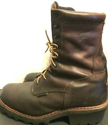 Menand039s Red Wing Leather Work Boot Vibram Sole Brown Sz. 10ee Oil Resist Hard Toe