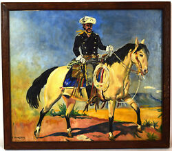 Large U.s.a. Patriotic 1890s Painting, Ulysses Grant On Horse,e.skingsley Signed