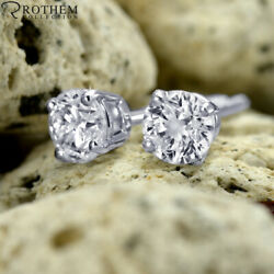 1.17 Ct Solitaire Diamond Earrings White Gold Stud Si1 Msrp 7700 03251369