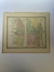 Antique Hand Colored Original Map Of St Louis And Chicago 1855