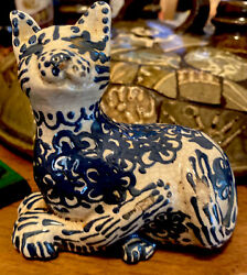 Turtlecreek Pottery Blue Hand Decorated Cat Figurine 1988 Red Ware,wood Fired