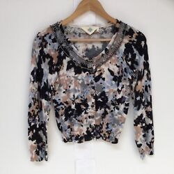 Monogram For Anthropologie Cotton Beaded Cardigan Sweater Size Small $21.00