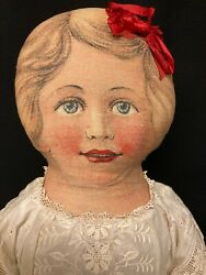 Large Antique Printed Cloth Doll With Antique Clothing..