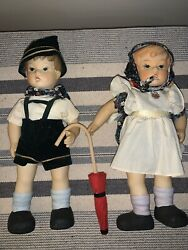 Hansel And Gretel Porcelain Dolls Germany German 10 Inch Pair One Of Kind ❤️tb5m