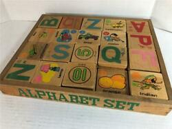 Antique Alphabet Set Wood Play Blocks Abc's 123's Pictures Wood Tray Colorful