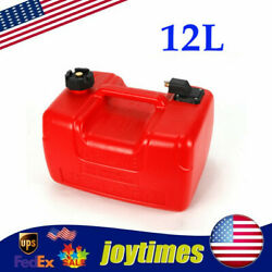 12 L Gas Tank Gasoline Diesel Outboard Fuel Tanks For Boat Portable W/ Connector