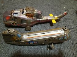 Vintage Battery And Wind Up Tin Toy Helicopter Traffic Control Army Mule Parts