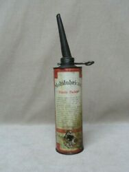 Vintage Mobilubricant Mobil Oil Co Grease Tube Can W/ Spout Pat'd 1912 Barn Find