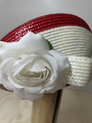 Vintage Jack Mcconnell New York Red And White Straw And Flower Hat. Collector Item