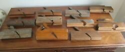 Antique Wood Block Tools Planes Lot Of 11 Pieces With Markings.