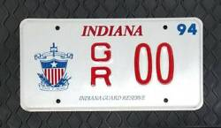 1994 Indiana Military Department Reserve Guard Vanity License Plate Gr 00 - Mint