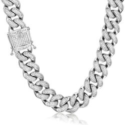 20mm Ice Out Cuban Link Chain Hip Hop Stainless Steel Diamond 5a+ Prong-setting