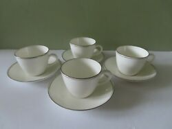 4 Wedgwood Doric Cup And Saucer Sets - 8 Perfect Pieces