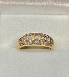 High End Designer's Solid Yellow Gold With 27 Diamonds Ring 7k Apr W/coa}